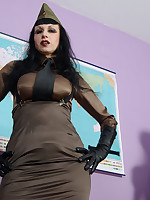 Trinity in a military uniform, waist chincher suspender belt and stockings.. - Granny Girdles